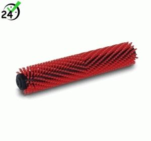 Uniwersalna szczotka walcowa z włosiem średnio twardym, czerwona, 300 mm